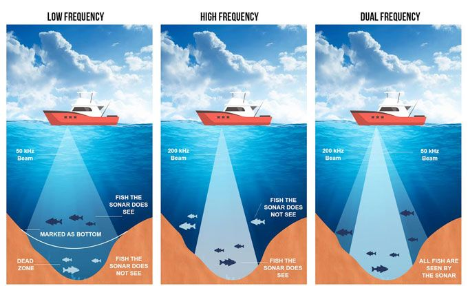 fish finder power and frequencies