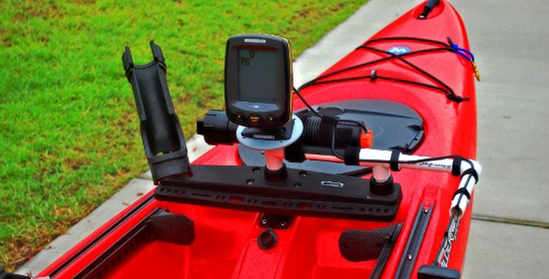 kayak with an attached fish finder