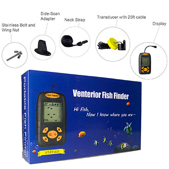 Water Depth & Temperature Fishfinder with Wired Sonar Sensor