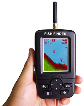 venterior portable fish finder in hand